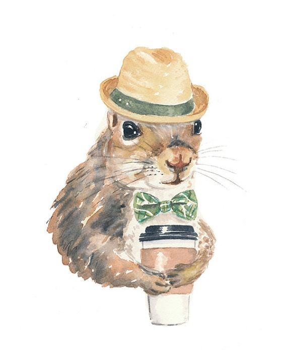 Watercolor squirrel in green tie-bow and hat keeping coffee tattoo design