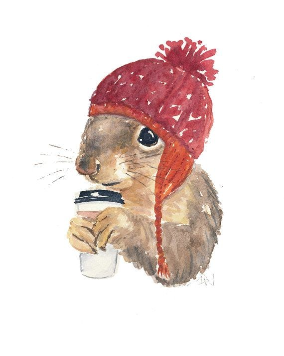 Watercolor squirrel in red woolen knitted cap with coffee tattoo design2
