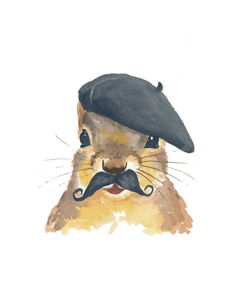 Watercolor squirrel with black moustache in franch beret tattoo design