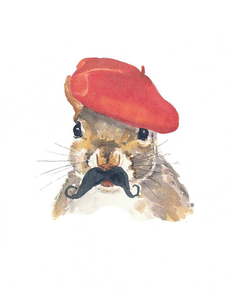 Watercolor squirrel with fluffy moustache in red beret tattoo design
