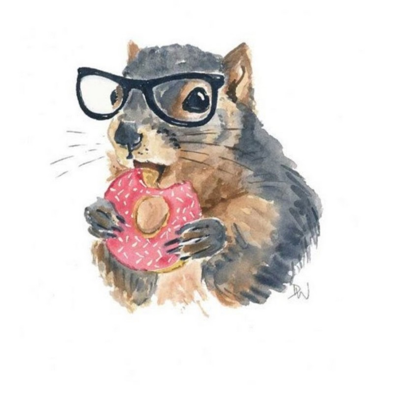 Watercolor squirrelin spectacles eating pink nutcake tattoo design