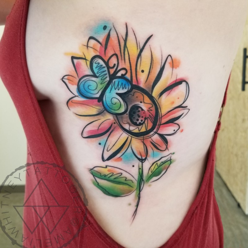 Watercolor sunflower and butterfly tattoo on side