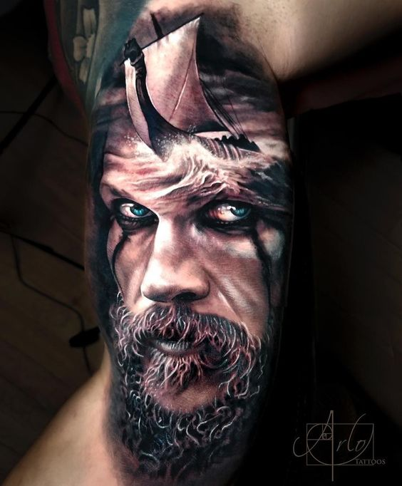 Watercolor viking with ship tattoo by Arlo