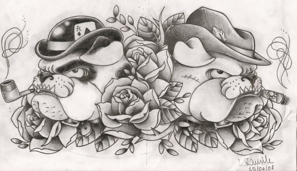 Well-esteblished grey-ink bulldog mafia tattoo design - Tattooimages.biz