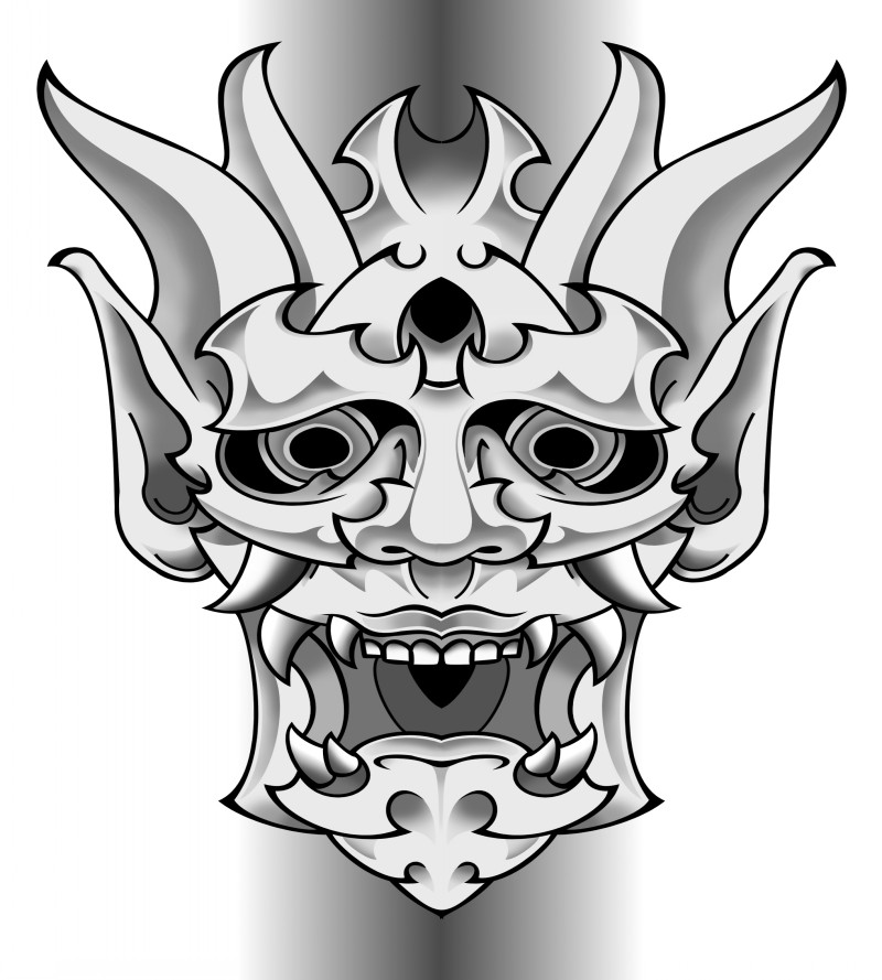 white and grey asian demon oni mask tattoo design by funkt green. Black Bedroom Furniture Sets. Home Design Ideas
