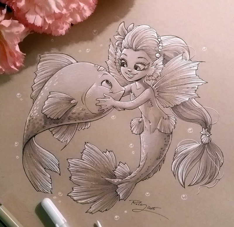 White-and-grey cartoon little mermaid and chubby fish friendship tattoo design by Kellee Art