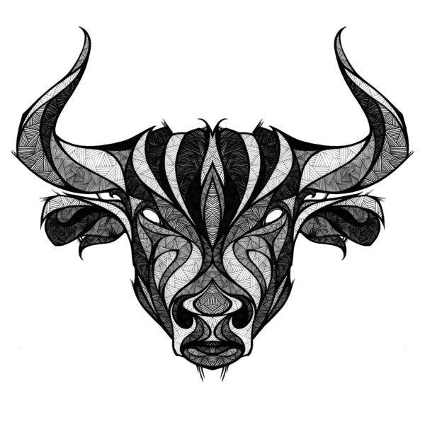 White-eyed bull head with geometric pattern tattoo design
