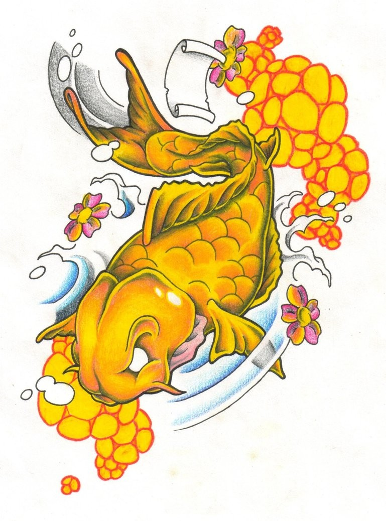 White-eyed golden koi fish and yellow bubbles tattoo design
