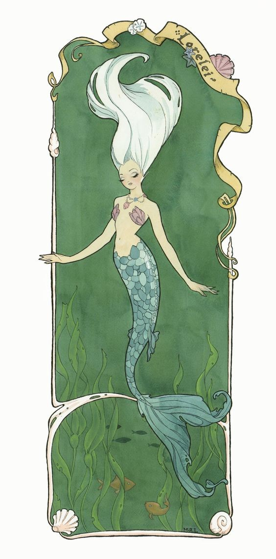 White-haired mermaid with closed eyes swimming in green water tattoo design