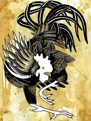 White-headed rooster with black feathers tattoo design