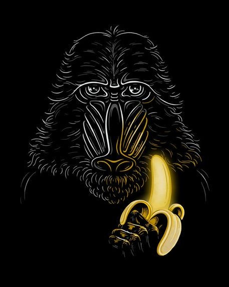 White-ink baboon keeping yellow shininh banana tattoo design