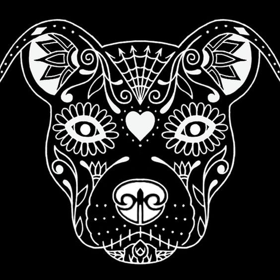 White-ink bulldog with sugar skull make-up tattoo design