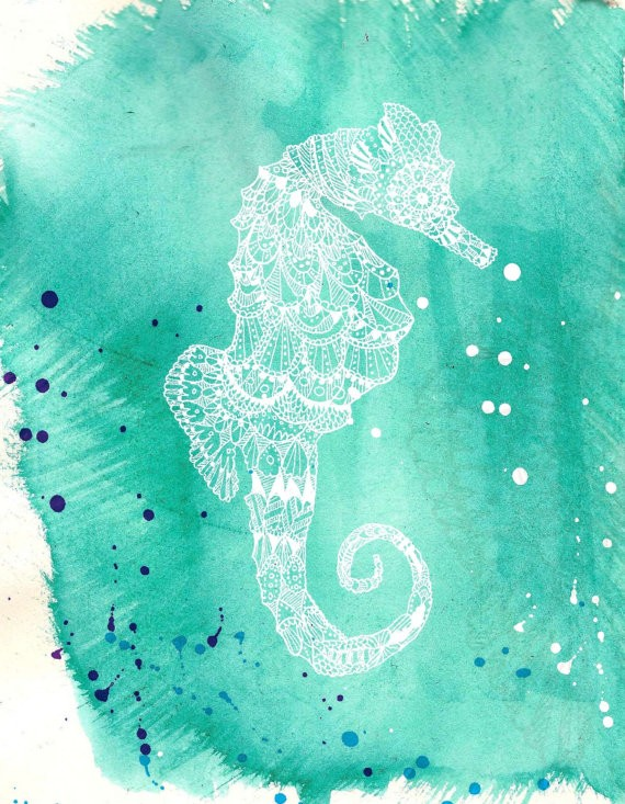 White-ink patterned seahorse tattoo design