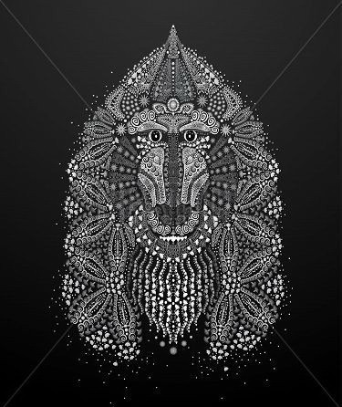 White-ink rich decorated baboon muzzle tattoo design