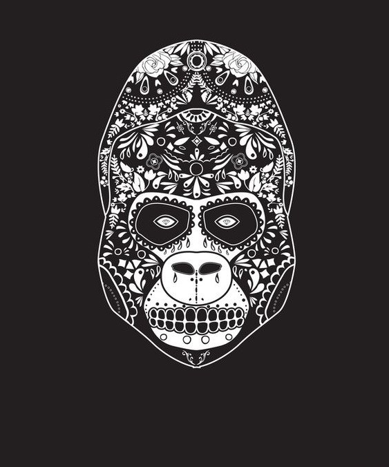 White-ink sugar skull gorilla tattoo design