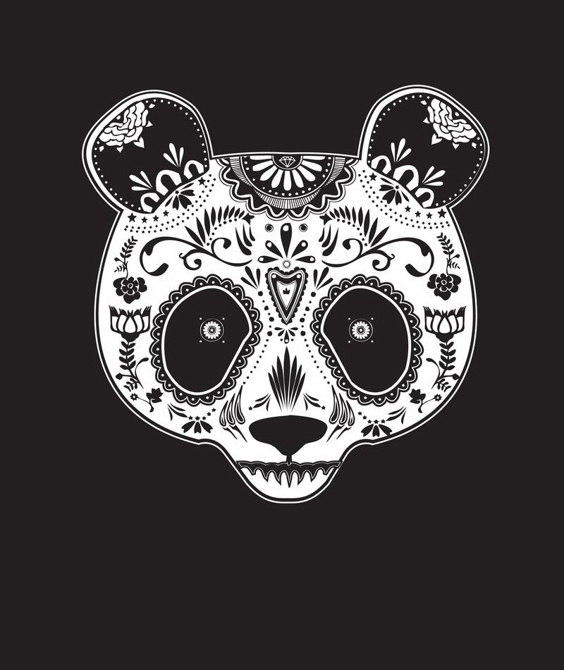 White-ink sugar skull panda face tattoo design