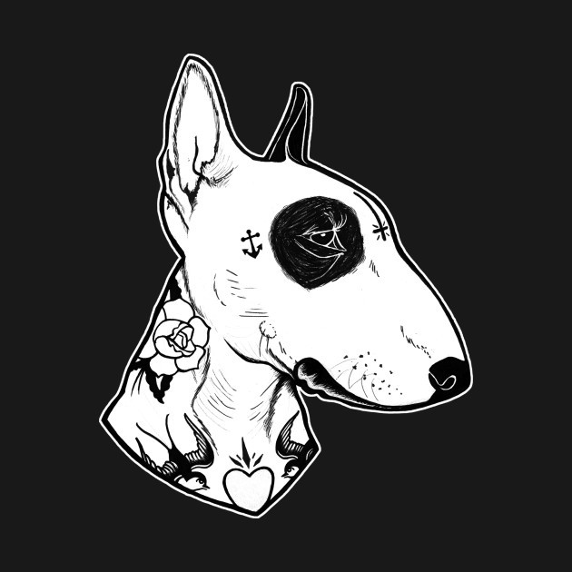 White-ink tattooed bull terrier dog portrait tattoo design