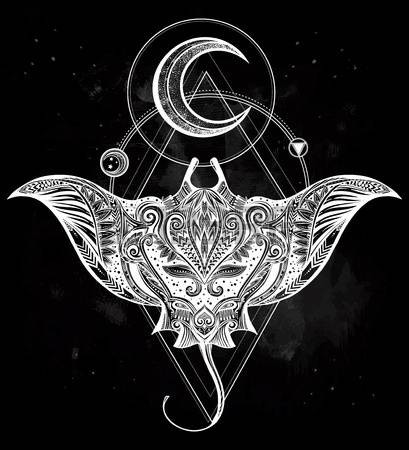 White-ink water animal with half moon and geometric drawings tattoo design