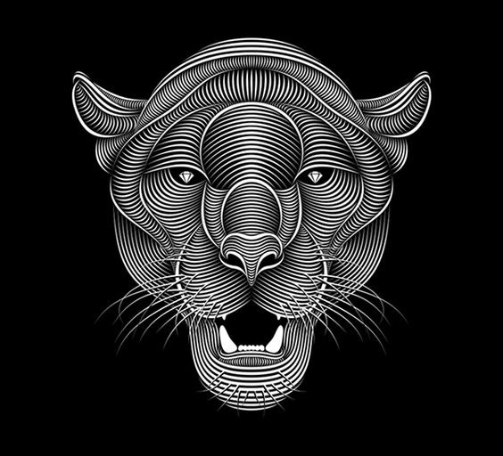 White-stripe panther head with diamond eyes tattoo design