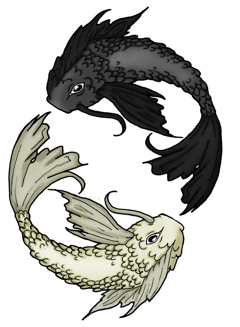 White and black fishes swimmimg in circle tattoo design by Angel Wings
