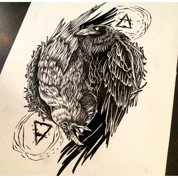 White and black raven yin yang with sacred signs tattoo design