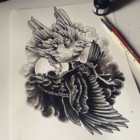 White and black ravens flying in grey smoke tattoo design