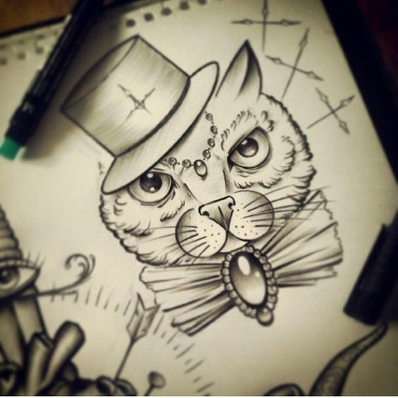 12 Awesome Décor Ideas For A Headstart On The Steampunk: White Cat In Hat With Gem And Bow Decorations Tattoo