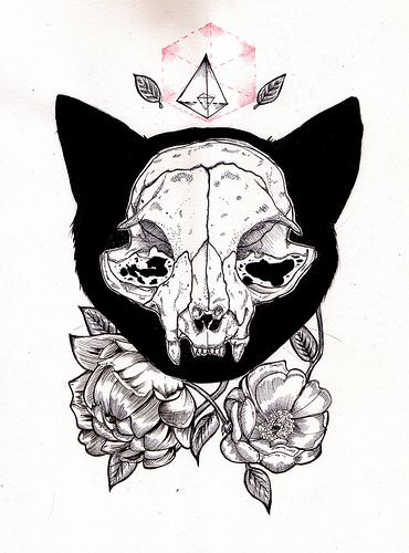 White cat skull in black fur with flowers and geometric elements tattoo design