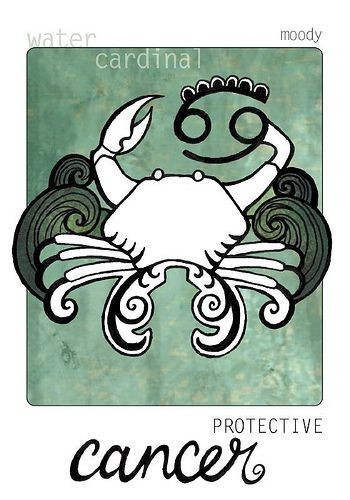 White crab with black clasw surrounded by waves and horoscop sign tattoo design2