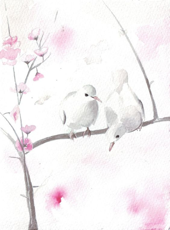 White dove couple sitting on sakura tree branch tattoo design