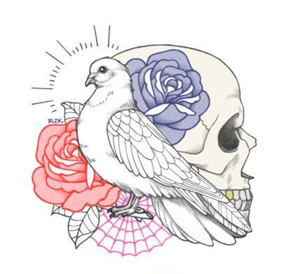 White dove with skull and red and blue rose buds tattoo design
