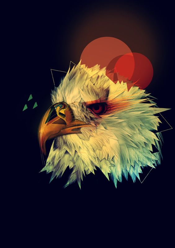 White eagle head with red circles and geometric dawings tattoo design