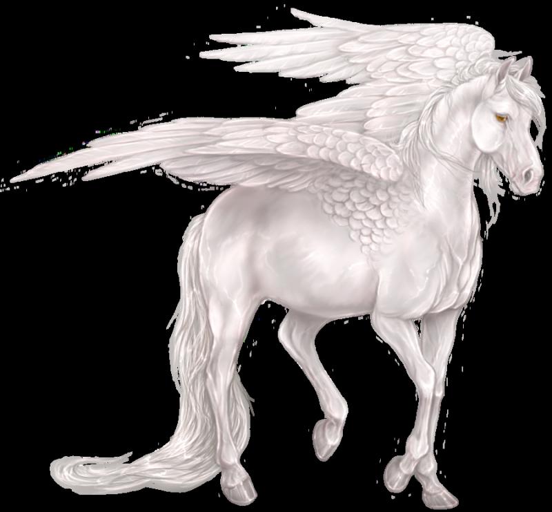 White elegant blue-eyed pegasus tattoo design