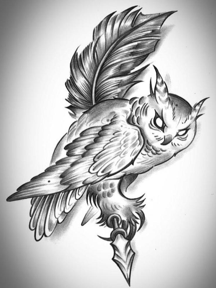 White evil-eyed owl sitting on feather tattoo design