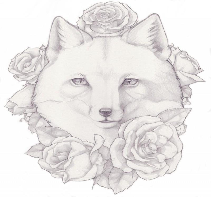 White fox surrounded with roses tattoo design by Aissatan