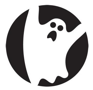 White frightening ghost on black circle background tattoo design