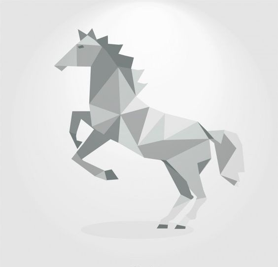 White Geometric Horse Standing On Hind Hoofs Tattoo Design