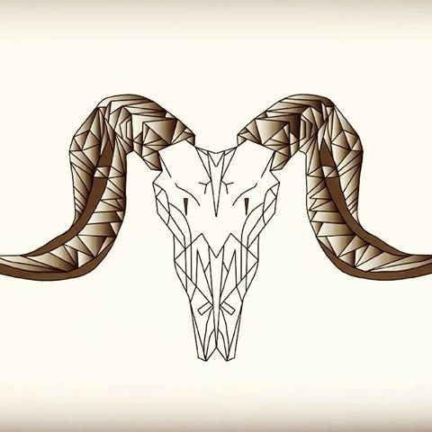 White geometric ram skull with brown horns tattoo design
