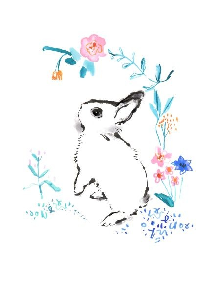 White hare baby in colored floral frame tattoo design