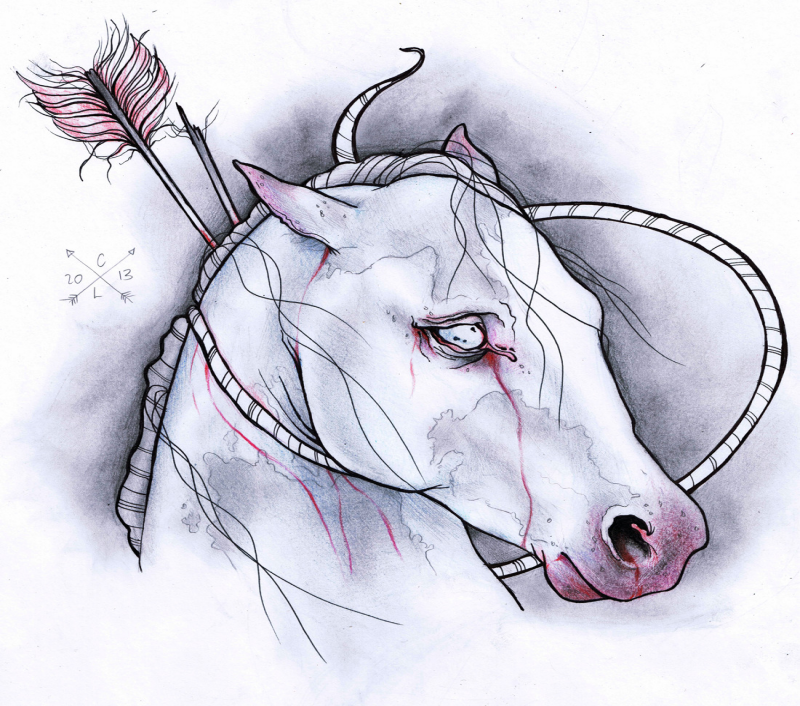 White horse killed with arrow and rope tattoo design