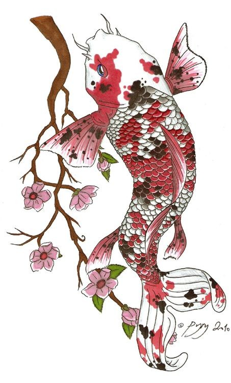 White koi fish with red-and-white scale and cherry blossom branch tattoo design