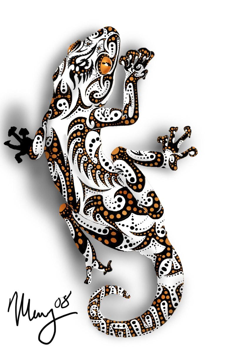 White lizard with black-and-orange pattern tattoo design