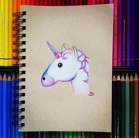 White lolipop unicorn head with rainbow mane and horn tattoo design