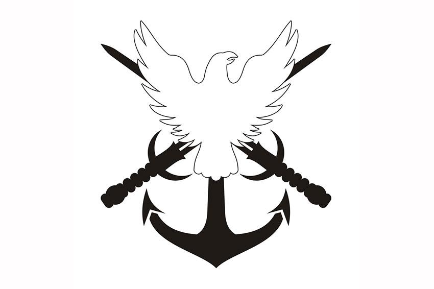 White military eagle with anchor and two black crossed swords tattoo design
