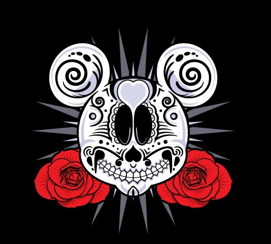 White muerte Mickey Mouse face and red roses tattoo design