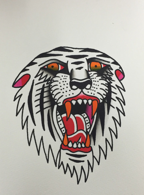 White old school roaring tiger with blooded mouth tattoo design