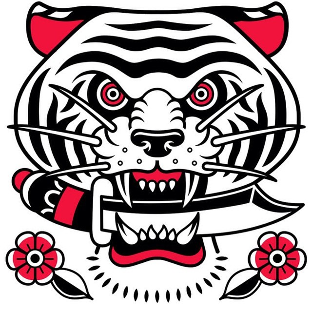 White old school tiger keeping a dagger in mouth tattoo design