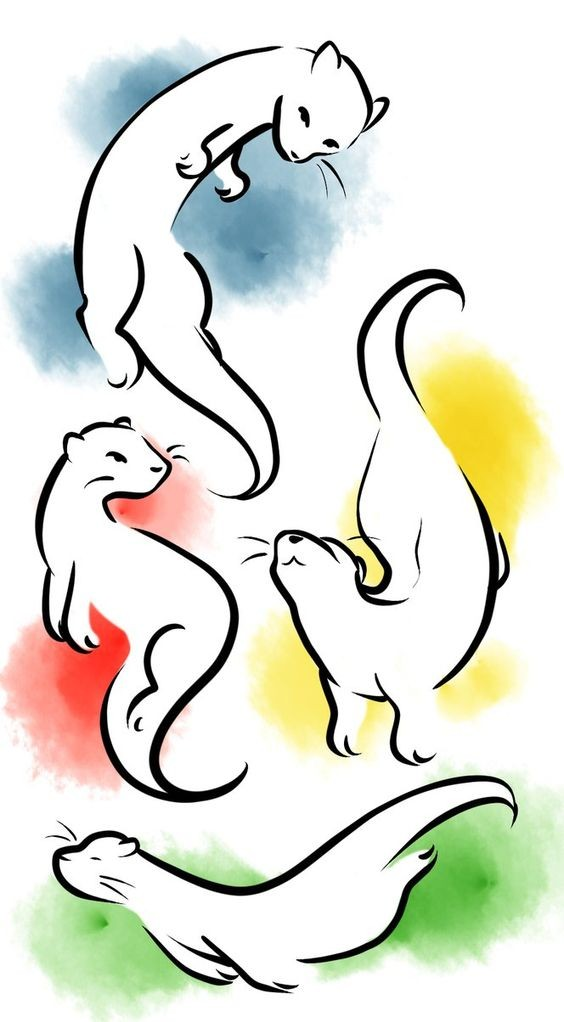 White outline rodent silhouettes on colorful background tattoo design