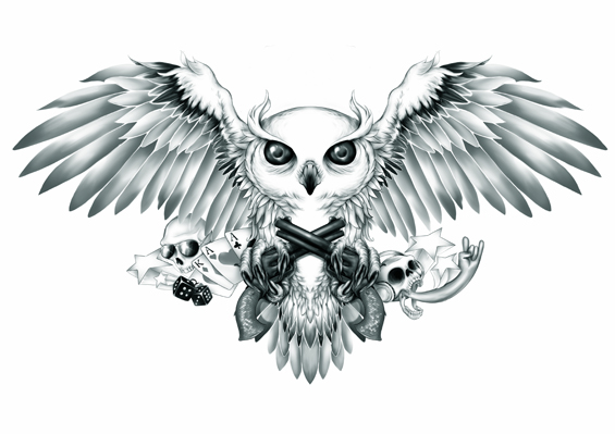 White owl with crossed guns and cards tattoo design