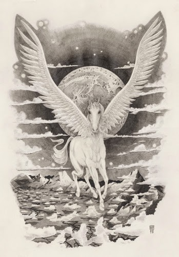 White pegasus on full moon and see background tattoo design